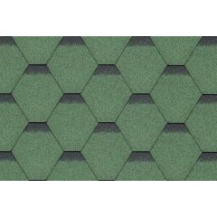 SHINGLAS Standard Series Hexagonal Roof Shingles in green.