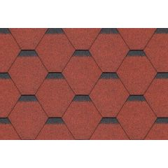 SHINGLAS Standard Series Hexagonal Roof Shingles in red.