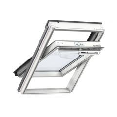 VELUX GGL white painted centre pivot window.