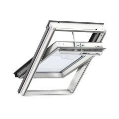 VELUX INTEGRA GGL solar powered white painted centre pivot window.