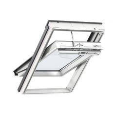 VELUX INTEGRA GGU solar powered white polyurethane centre pivot window.